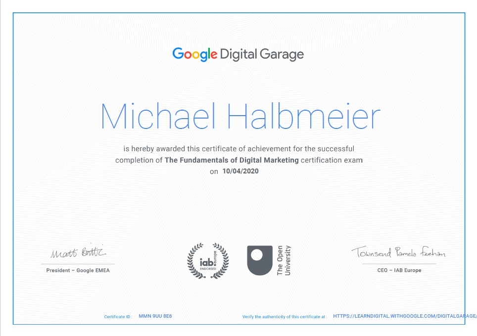Google Digital Garage Certification