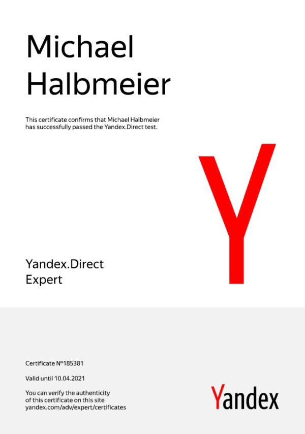 Yandex Direct Expert Certification
