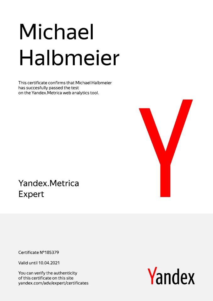 Yandex Metrica Expert Certification